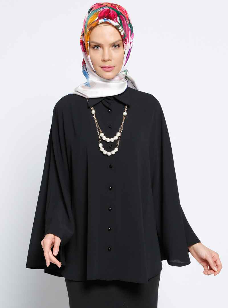 Zinet Tesettür Yarasa Kol Siyah Gömlek ModelleriZinet Tesettür Yarasa Kol Siyah Gömlek Modelleri