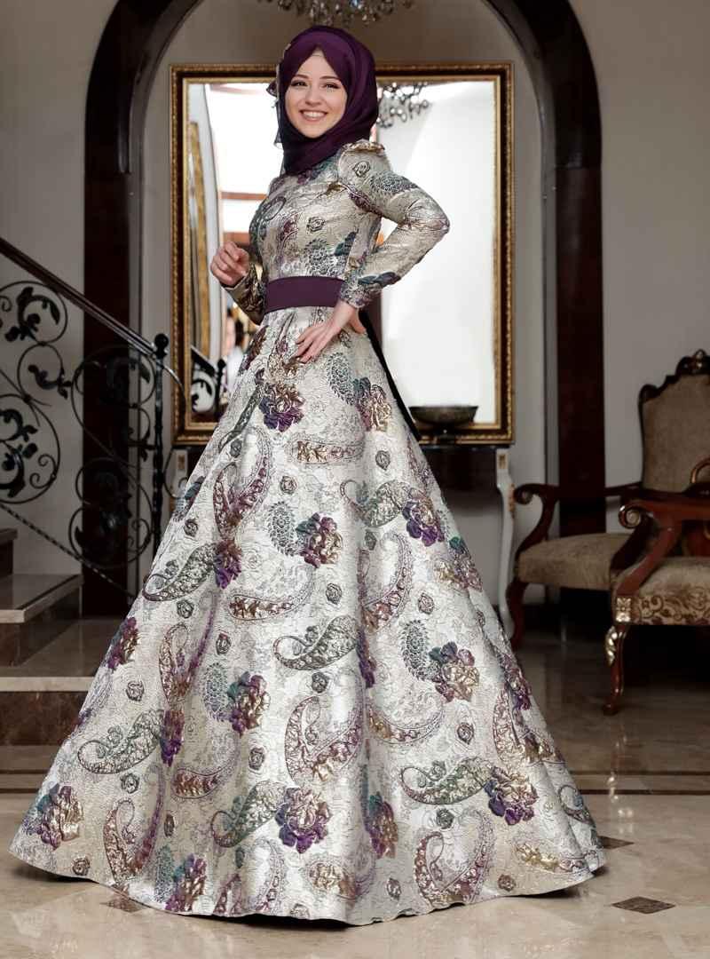 Al Marah Desenli Tesettür Abiye Elbise Modelleri