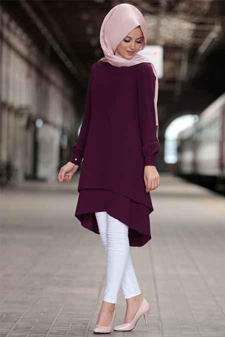 Al Marah Mürdüm Renk Tesettür Tunik Modelleri