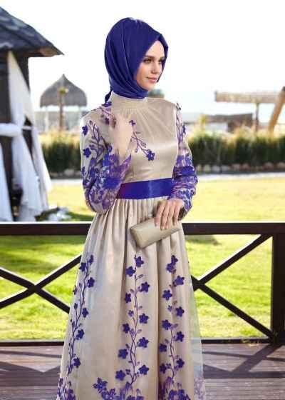 Alvina Desenli Tesettür Abiye Elbise Modelleri