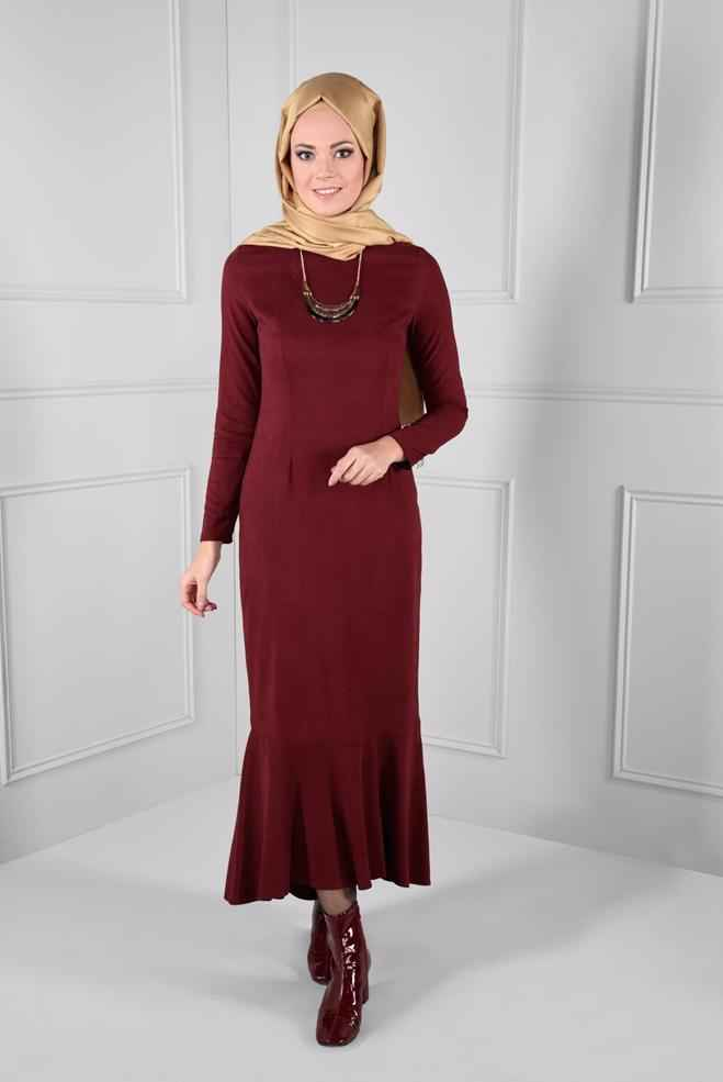 Alvina Tesettür Süet Elbise Modelleri