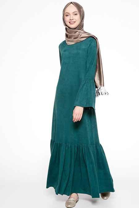 Beha Şık Tesettür Süet Elbise Modelleri