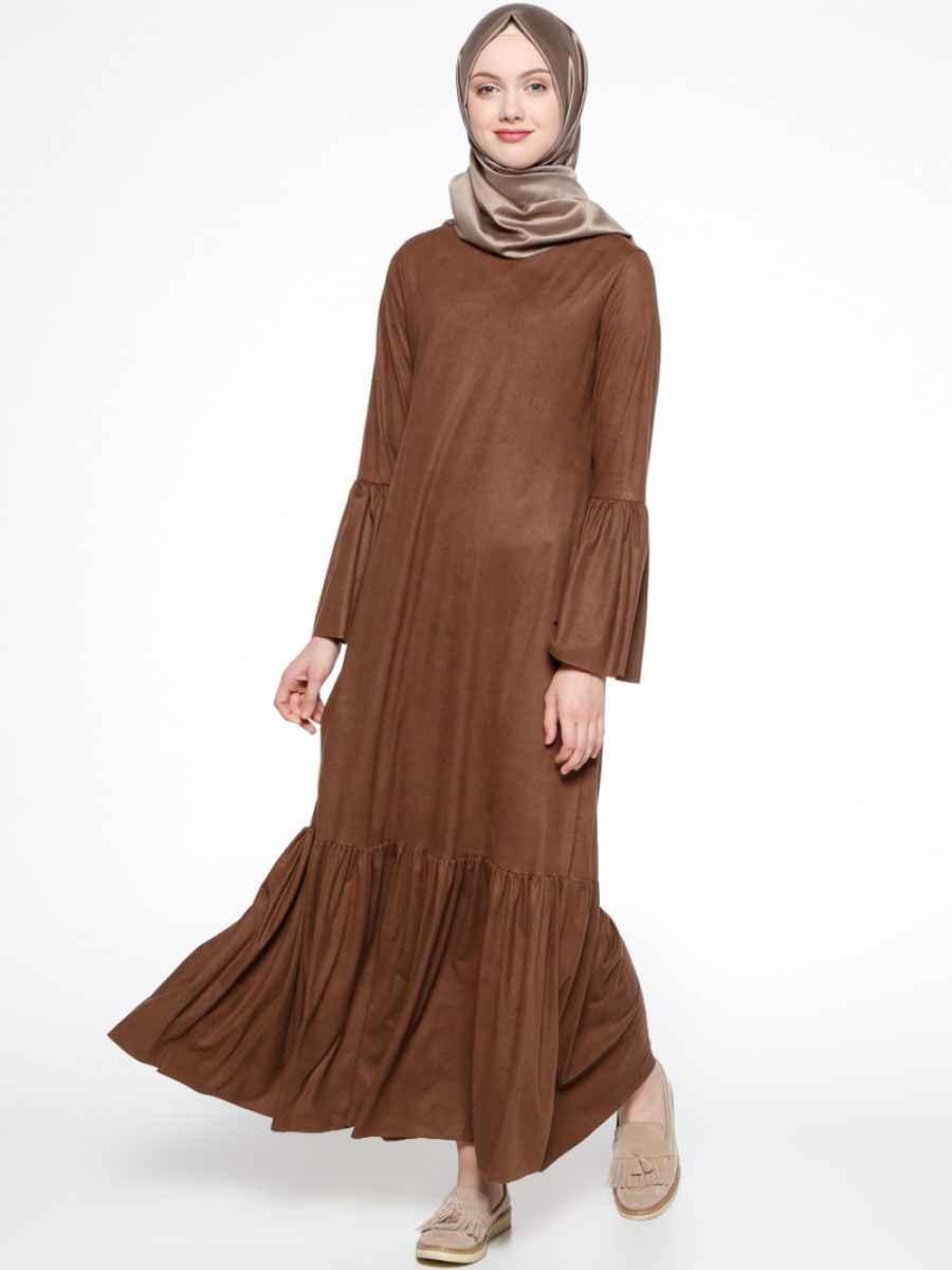 Beha Tesettür Fırfırlı Süet Elbise Modelleri