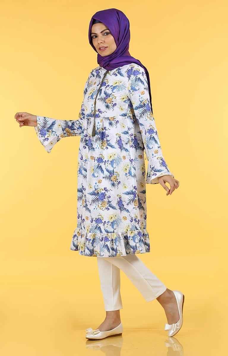 Desenli Tesettür Pazarı Tunik Modelleri