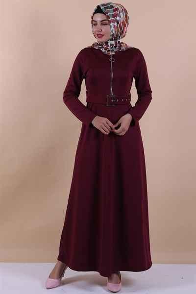 En Şık ModaPeriy Kemerli Tesettür Elbise Modelleri