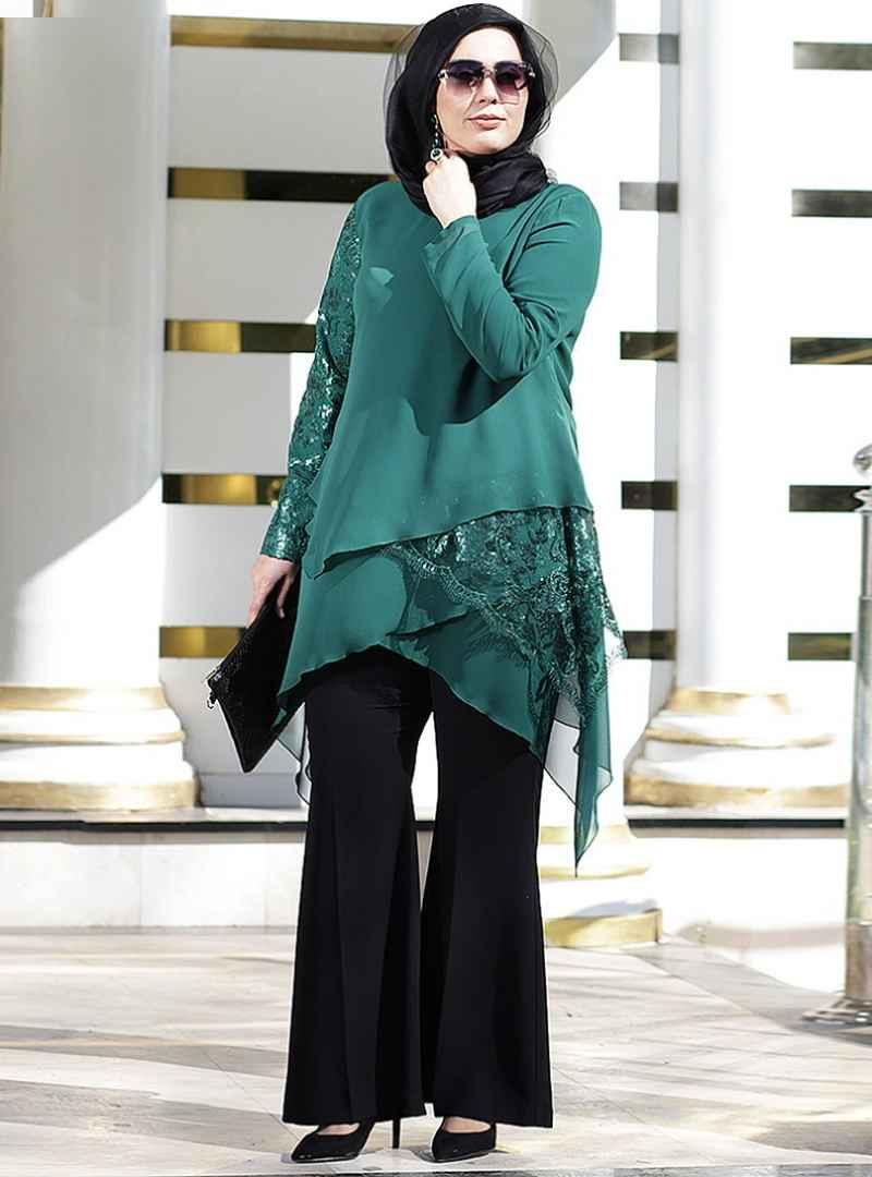 En Güzel Tesettür Abiye Tunik Modelleri