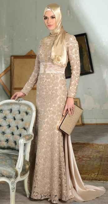 En Güzel Desenli Tesettür Abiye Elbise Modelleri