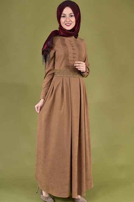 En Güzel Modamerve Tesettür Süet Elbise Modelleri