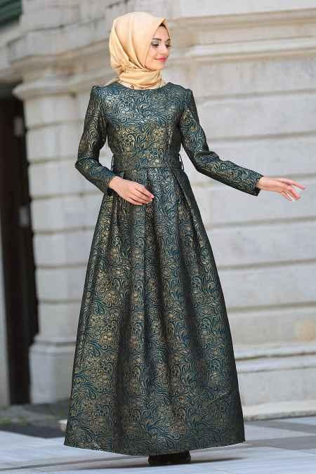 En Güzel Tesettür İsland Desenli Abiye Elbise Modelleri