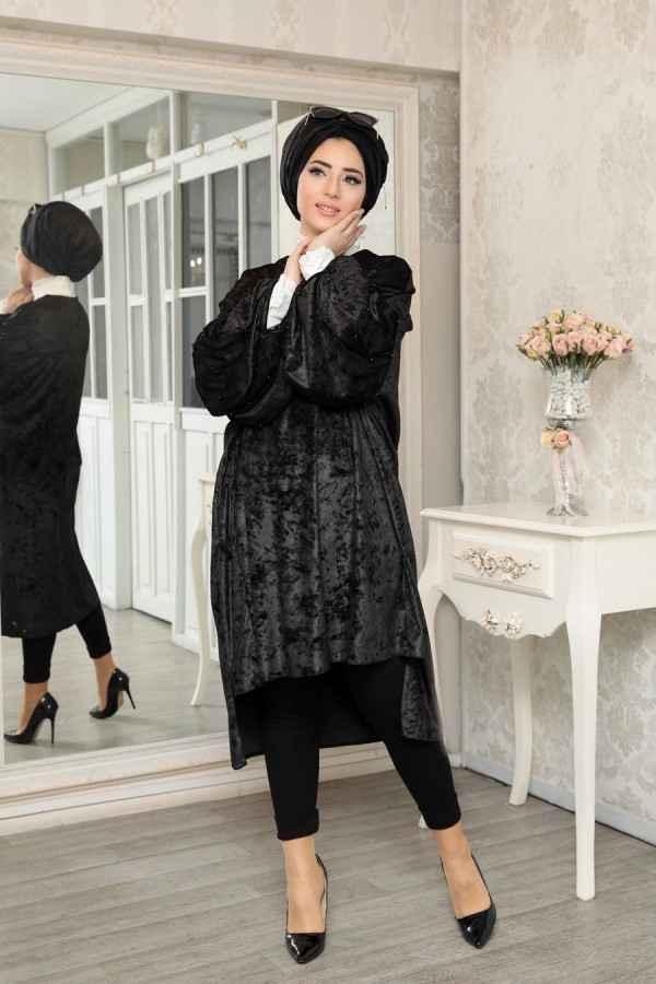 Lefzen Tesettür Abiye Tunik Modelleri