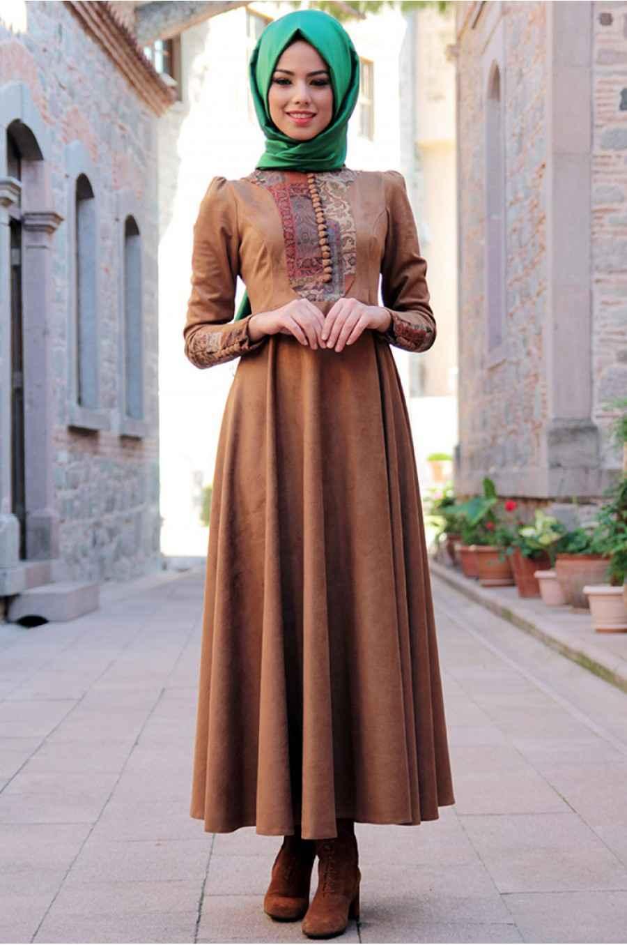 Mevra Tesettür Süet Elbise Modelleri