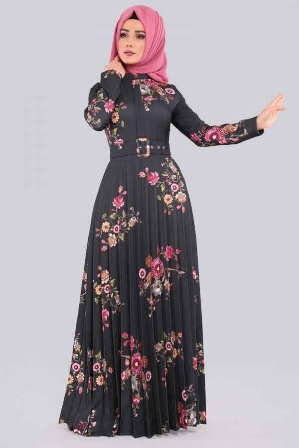 ModaSelvim Kemerli Tesettür Desenli Elbise Modelleri