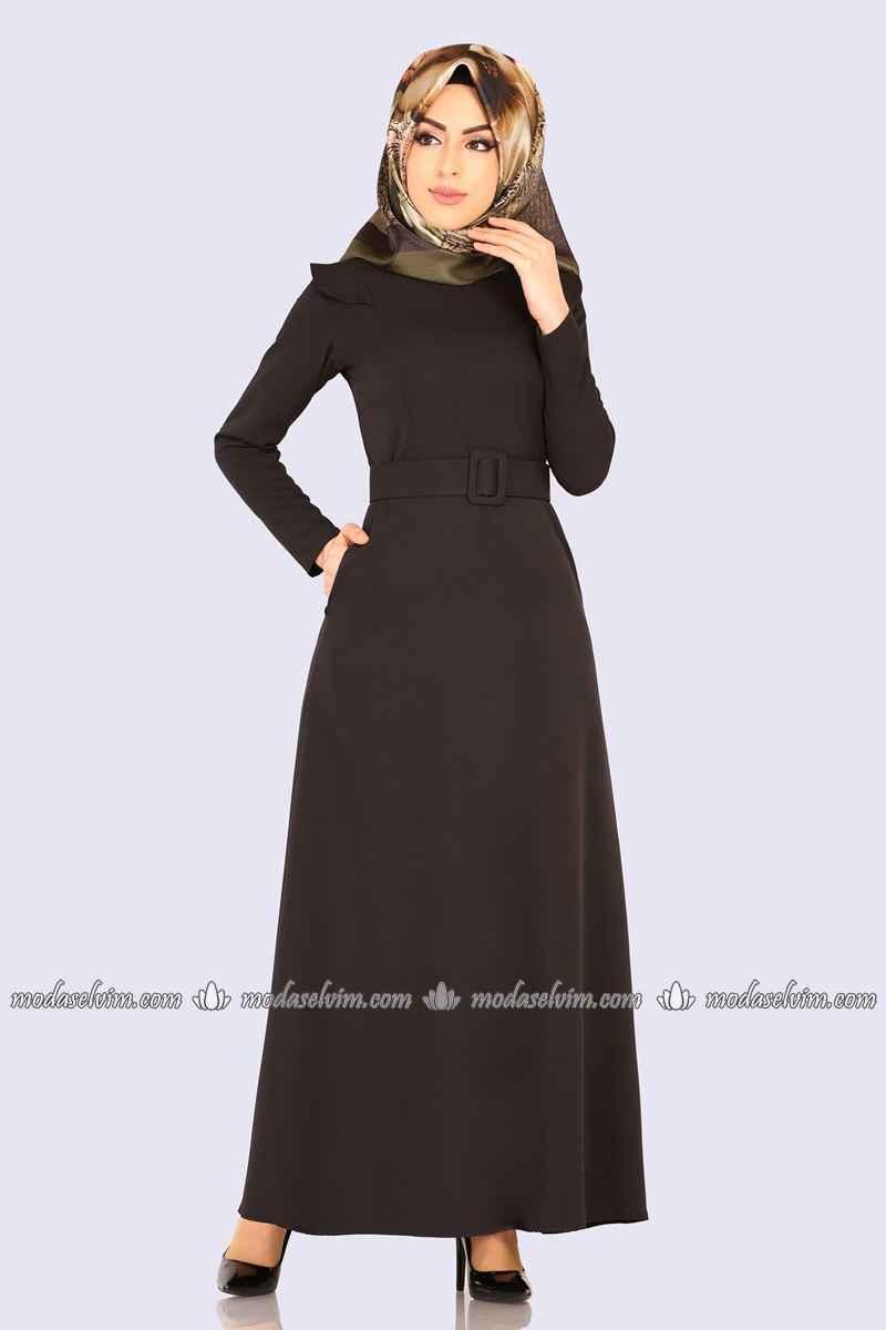 ModaSelvim Kemerli Tesettür Elbise Modelleri