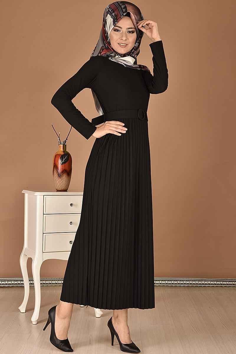 Modamerve Kemerli Tesettür Piliseli Elbise Modelleri