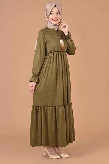 Modamerve Tesettür Süet Elbise Modelleri