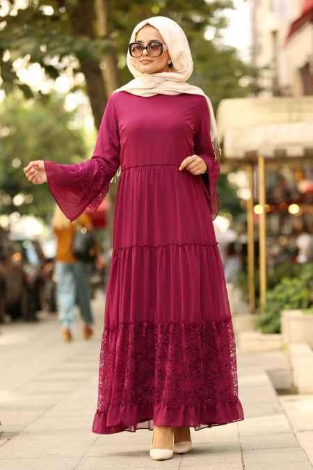 Nayla Collection Mürdüm Renk Tesettür Elbise Modelleri