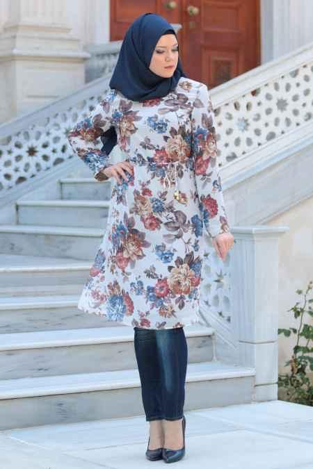 Neva Style Çiçek Desenli Tesettür Tunik Modelleri