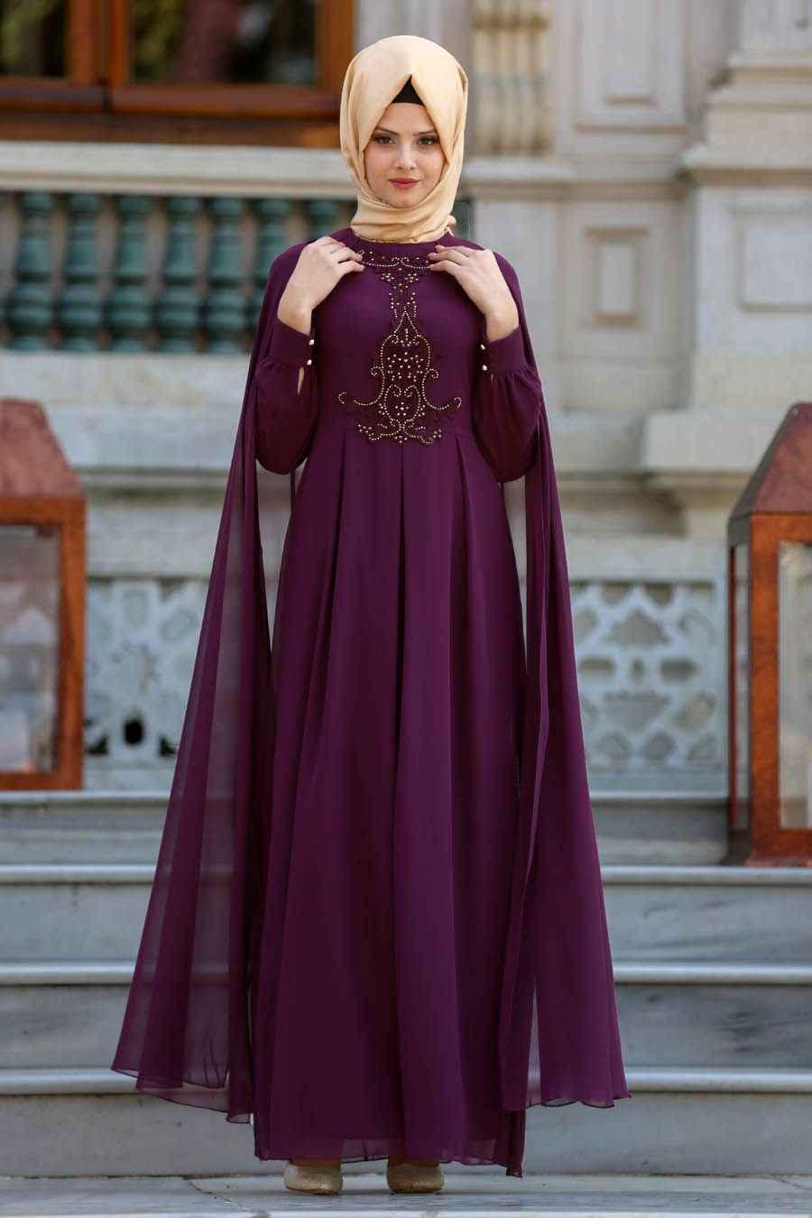 Neva Style Mürdüm Renk Tesettür Abiye Elbise Modelleri