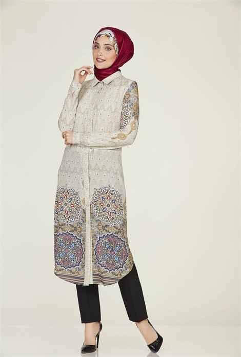 Nihan Desenli Tesettür Tunik Modelleri