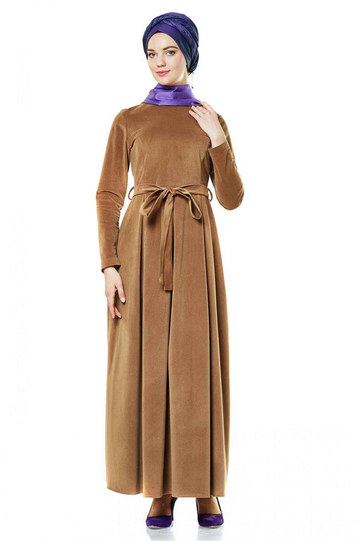 Nihan Tesettür Süet Elbise Modelleri