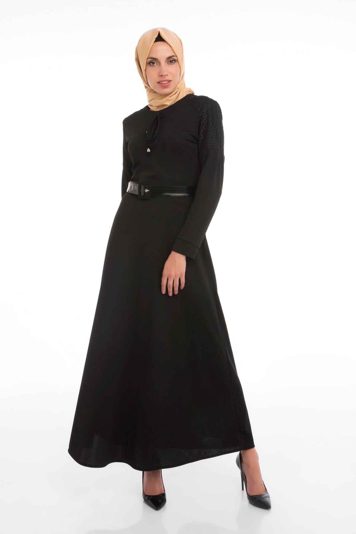 Patırtı Deri Kemerli Tesettür Elbise Modelleri