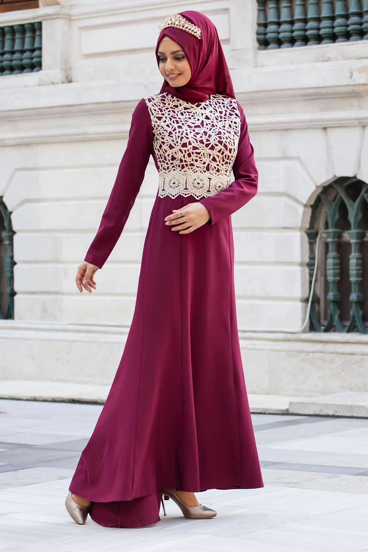 Sedanur Dantel Desenli Tesettür Abiye Elbise Modelleri