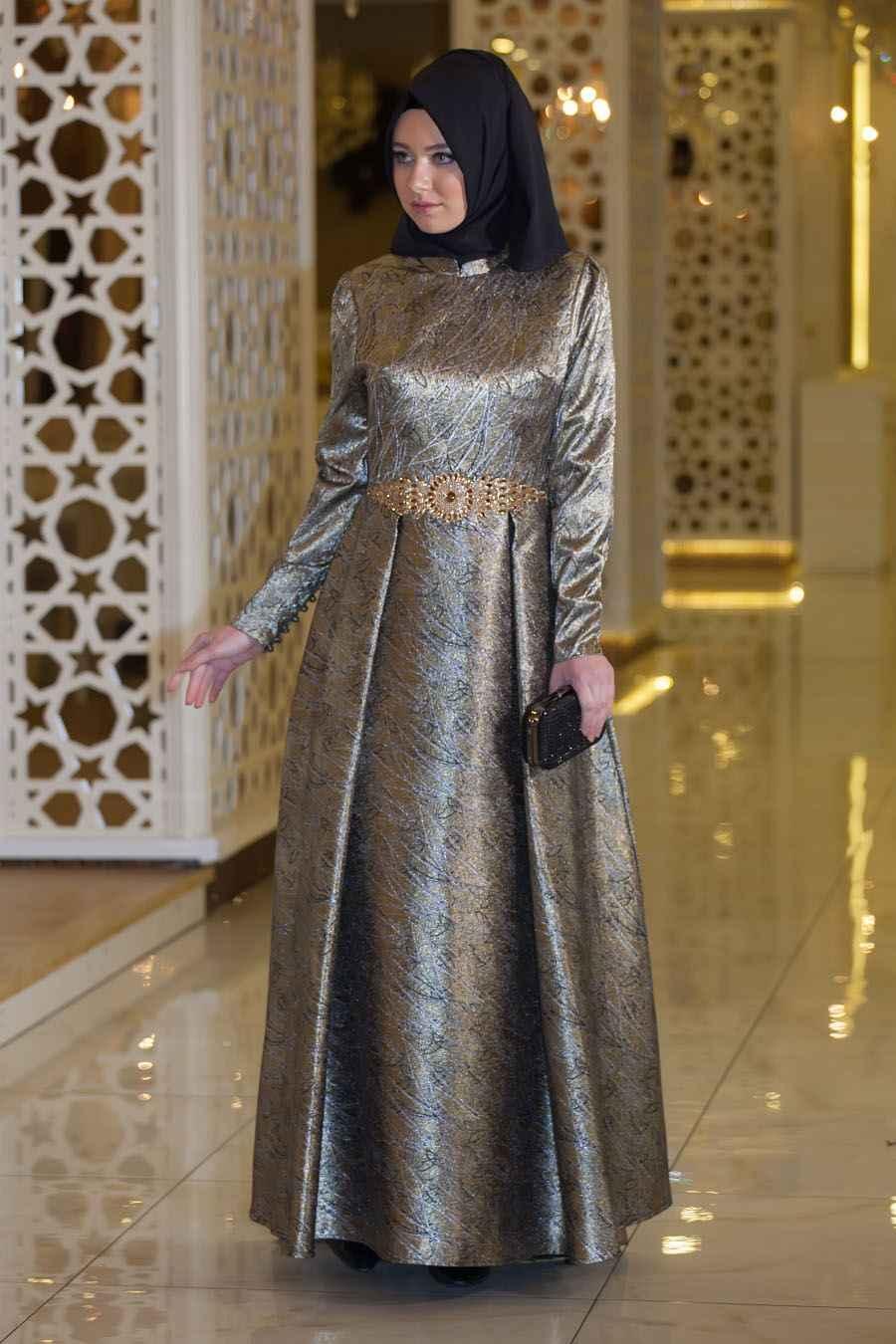 Sedanur Desenli Tesettür Abiye Elbise Modelleri