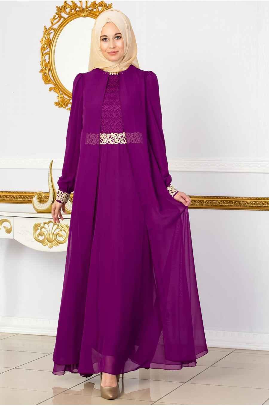 Sedanur Mürdüm Renk Tesettür Abiye Elbise Modelleri