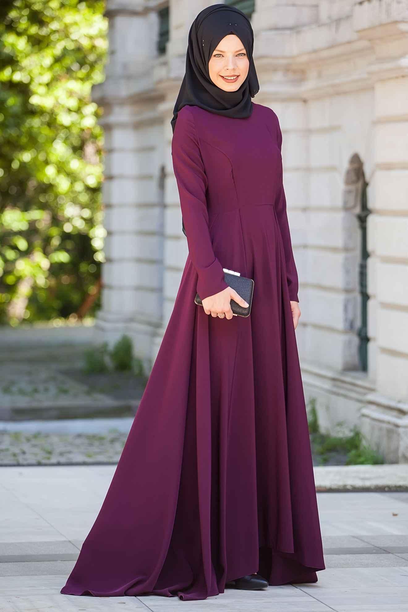 Sedanur Mürdüm Renk Tesettür Elbise Modelleri