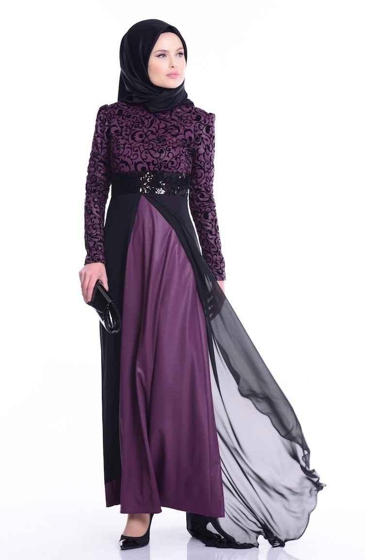 Sefamerve Desenli Tesettür Abiye Elbise Modelleri
