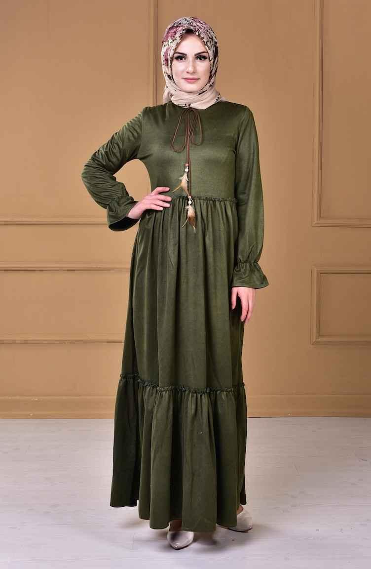 Sefamerve Tesettür Büzgülü Süet Elbise Modelleri