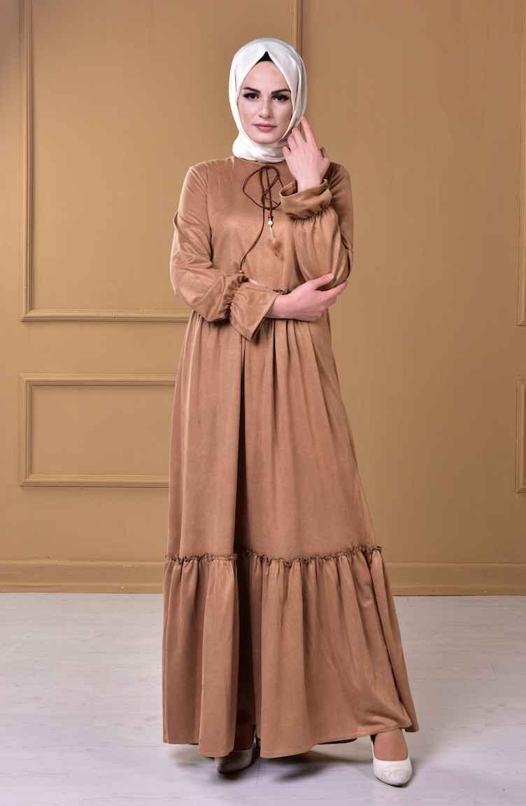 Sefamerve Tesettür Süet Elbise Modelleri