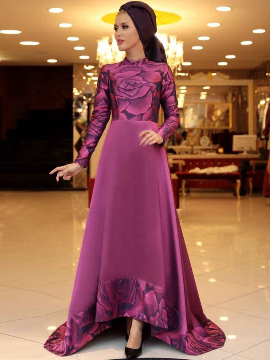Selma Sarı Design Desenli Abiye Elbise Modelleri