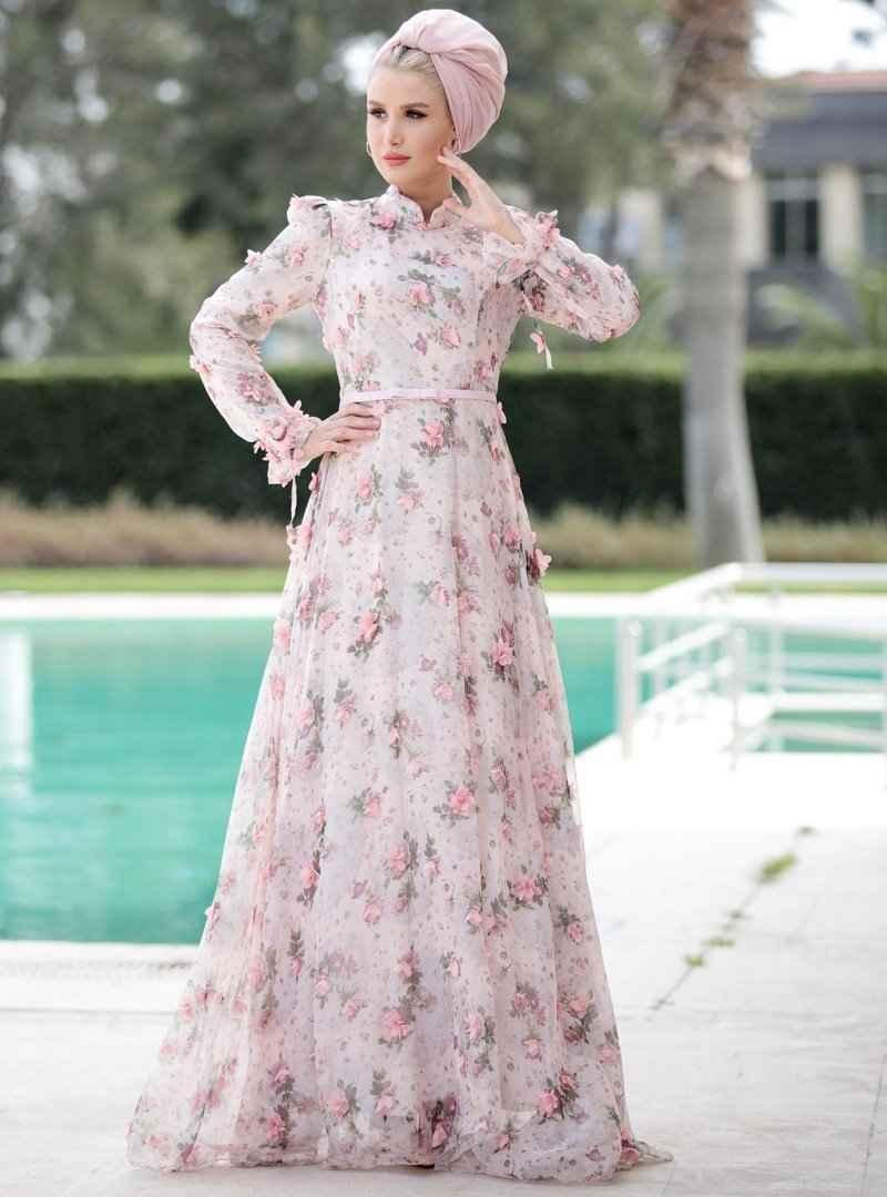 Selma Sarı Design Desenli Tesettür Abiye Elbise Modelleri