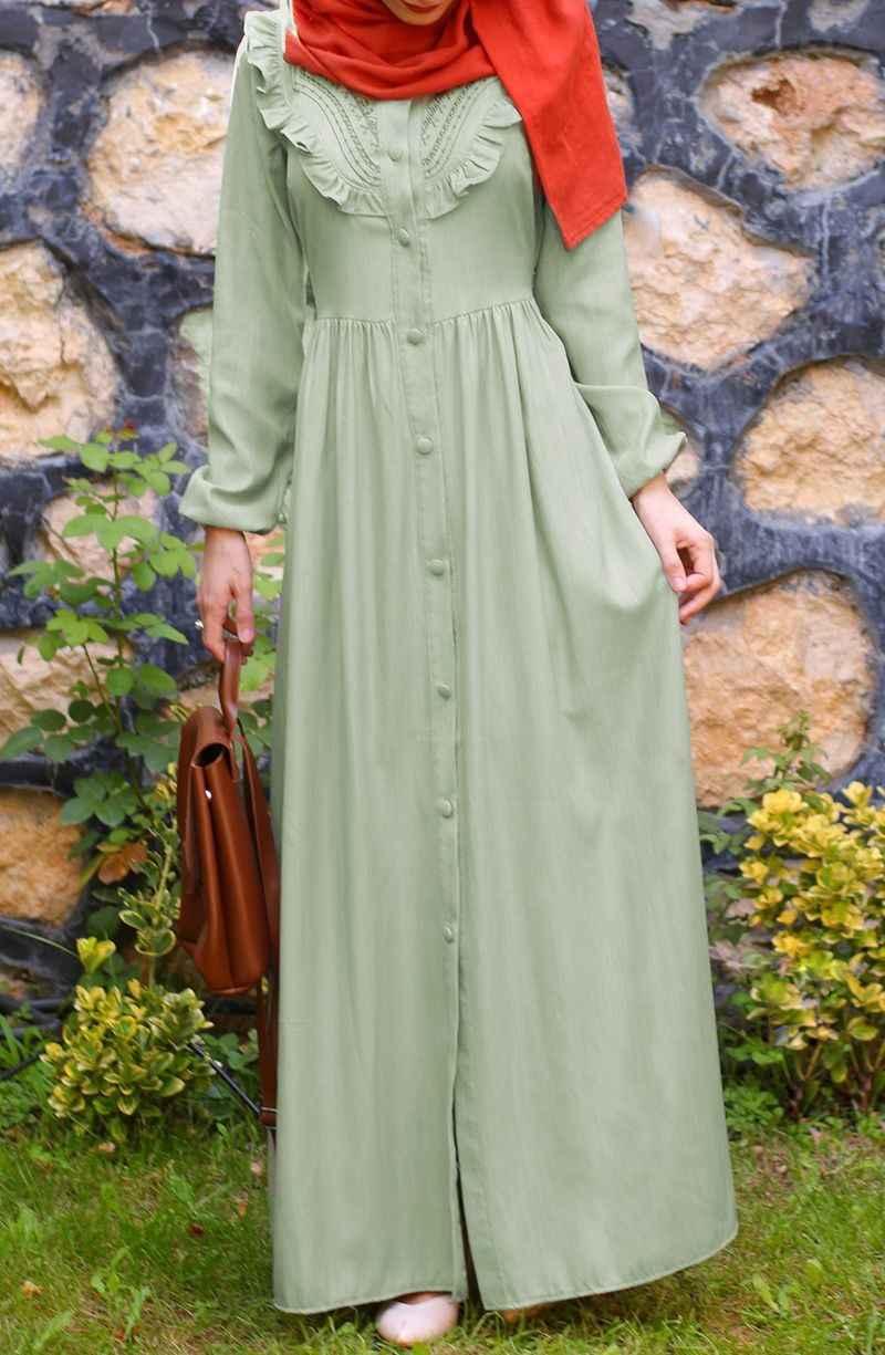 Suhneva Tesettür Retro Elbise Modelleri