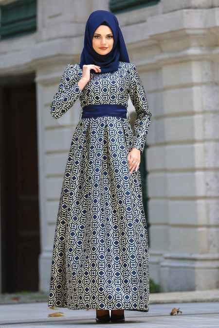Tesettür İsland Desenli Abiye Elbise Modelleri