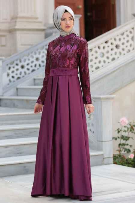 Tesettür İsland Mürdüm Renk Abiye Elbise Modelleri