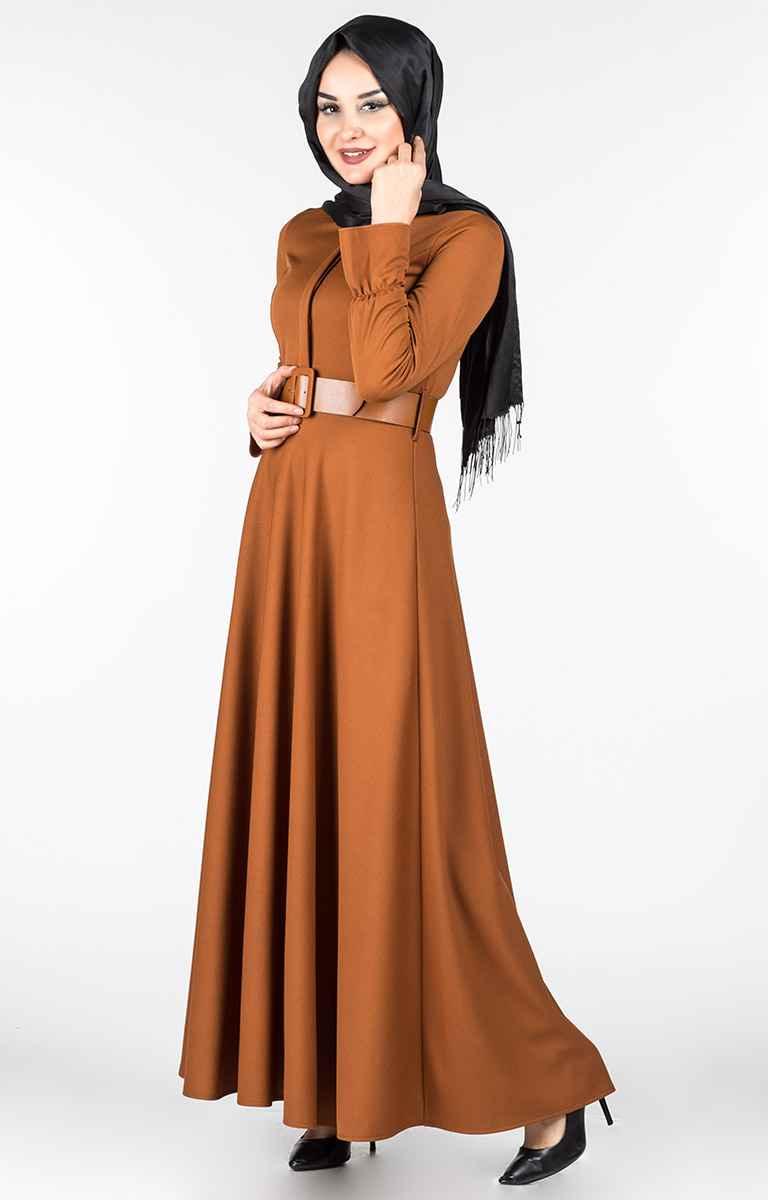 Tesettür Pazarı Kemerli Elbise Modelleri
