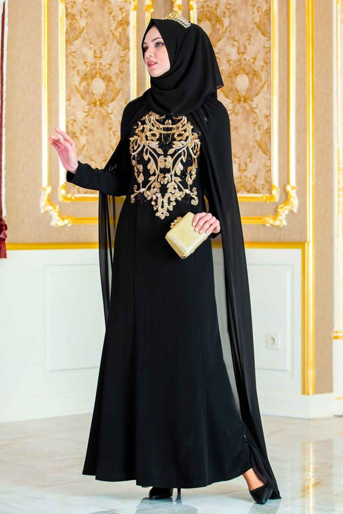 İşlemeli Patırtı Tesettür Abiye Elbise Modelleri