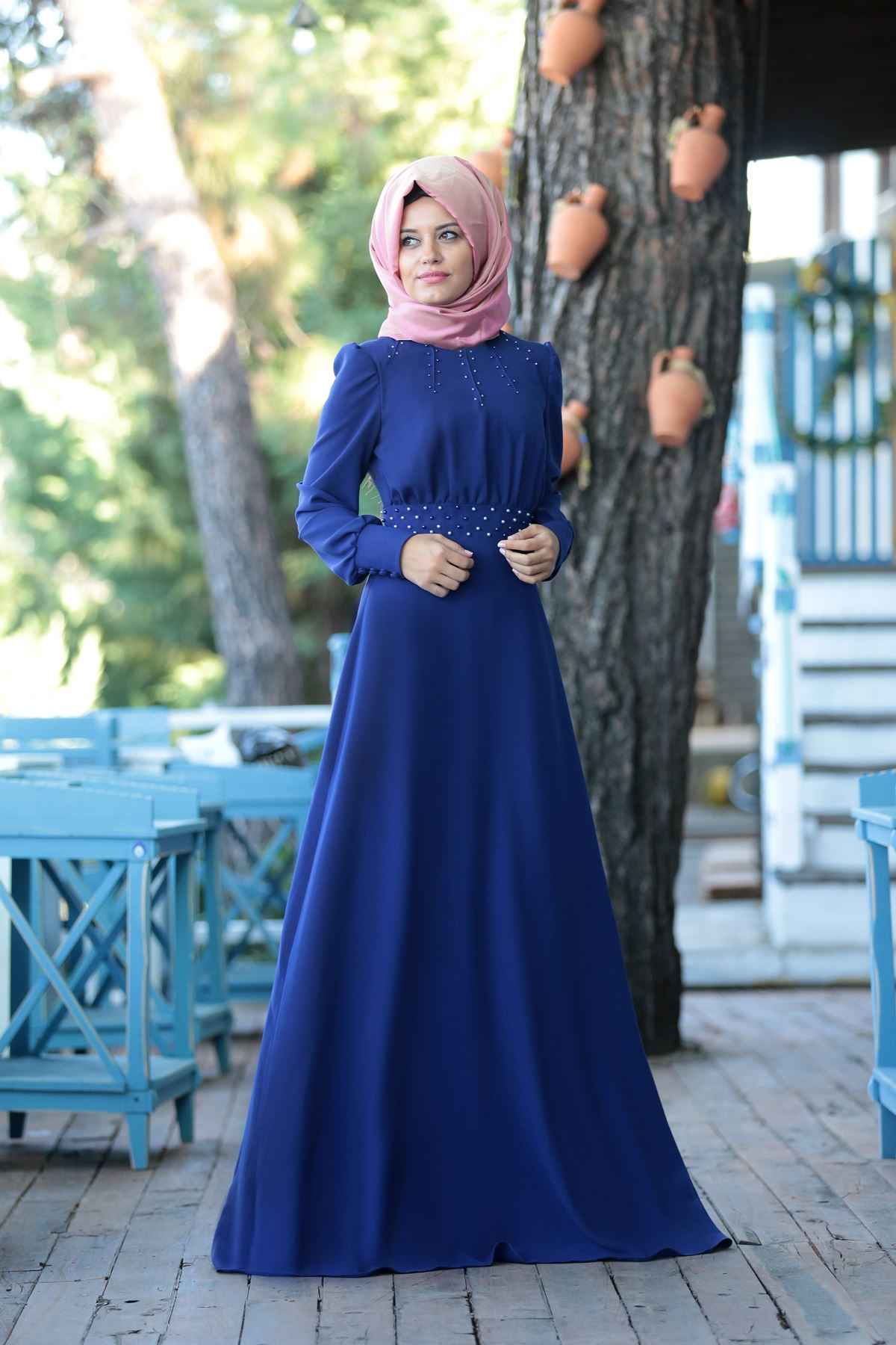 İnci Detaylı Patırtı Tesettür Abiye Elbise Modelleri