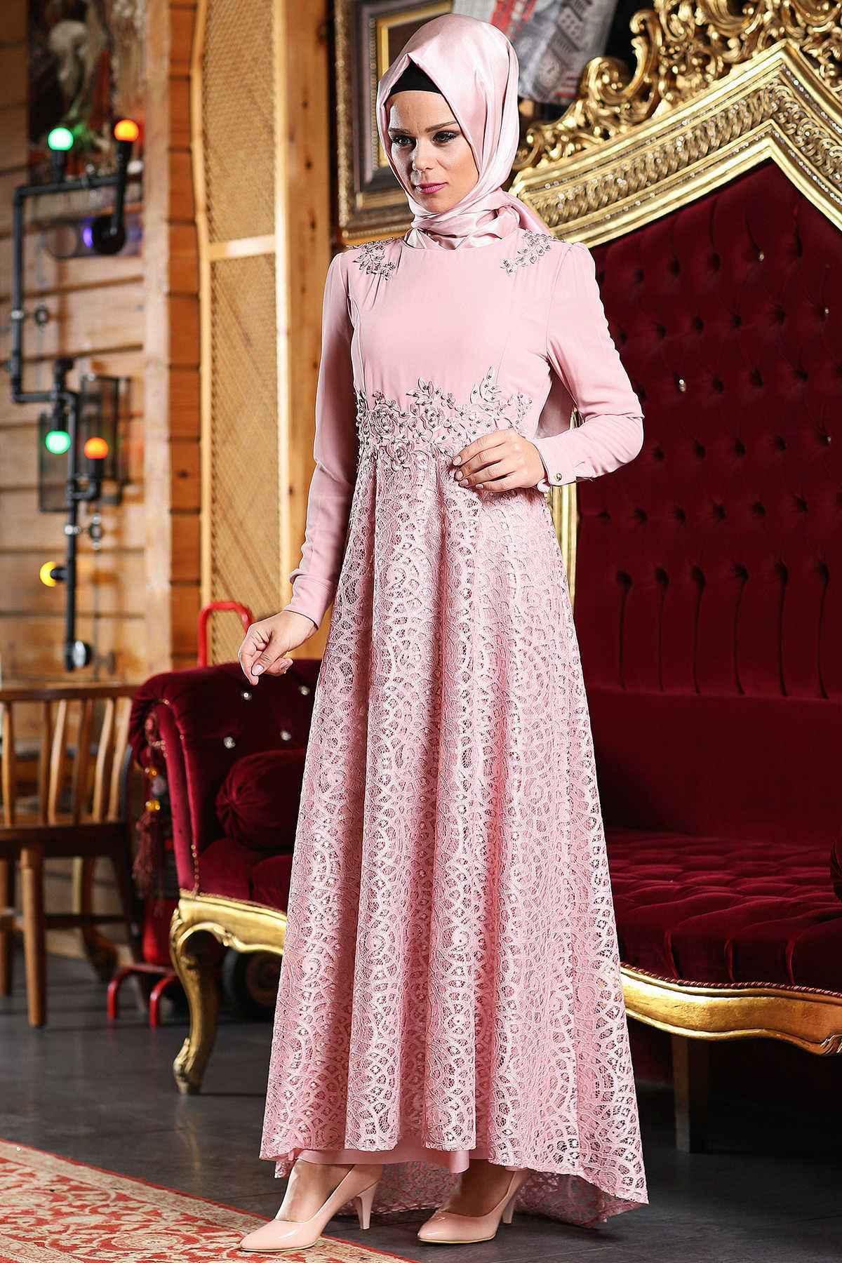 Şık ve Modern Patırtı Tesettür Abiye Elbise Modelleri