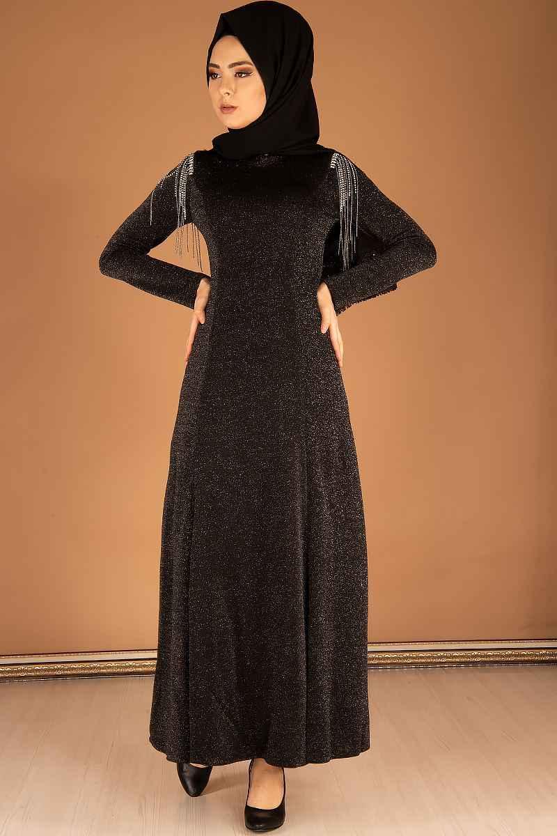 Şık ve Modern Simli Tesettür Elbise Modelleri