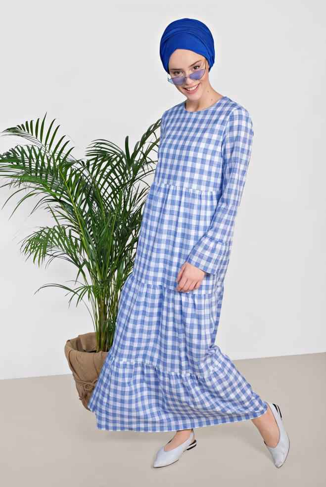 2018-2019 Alvina Tesettür Ekose Elbise Modelleri