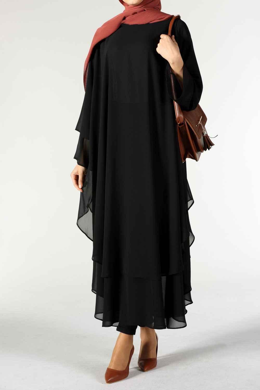 Allday Çift Katlı Siyah Tesettür Tunik Modelleri