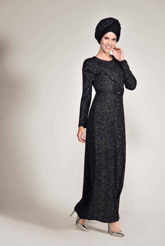 Alvina Şık Tesettür Simli Abiye Elbise Modelleri