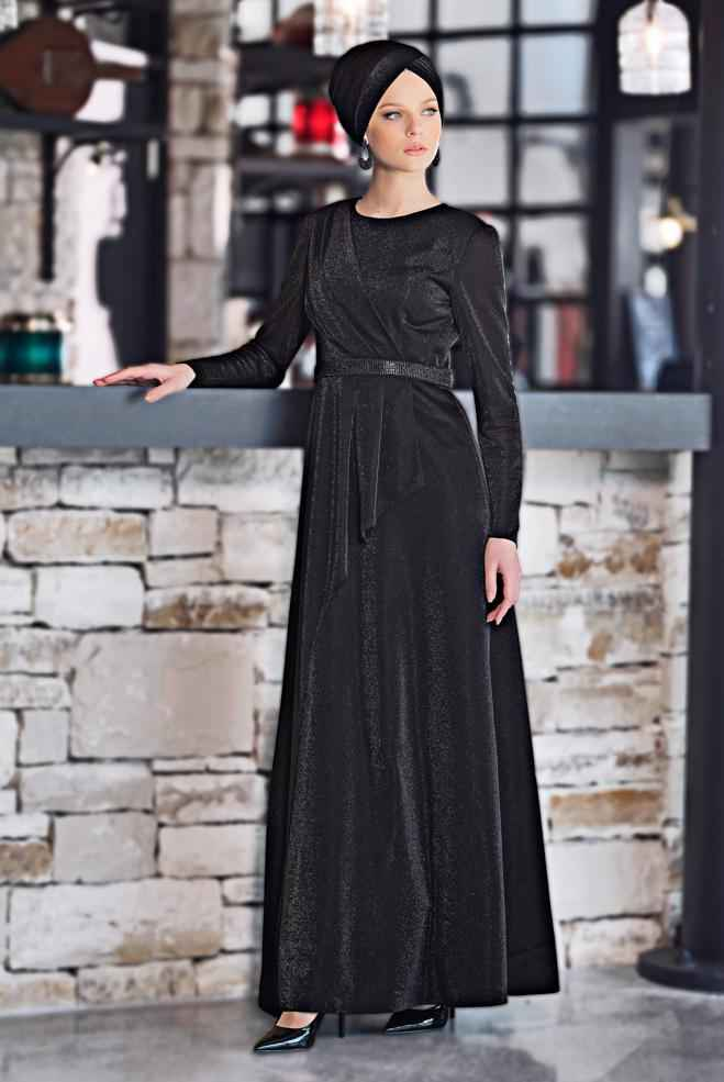 Alvina Tesettür Simli Abiye Elbise Modelleri