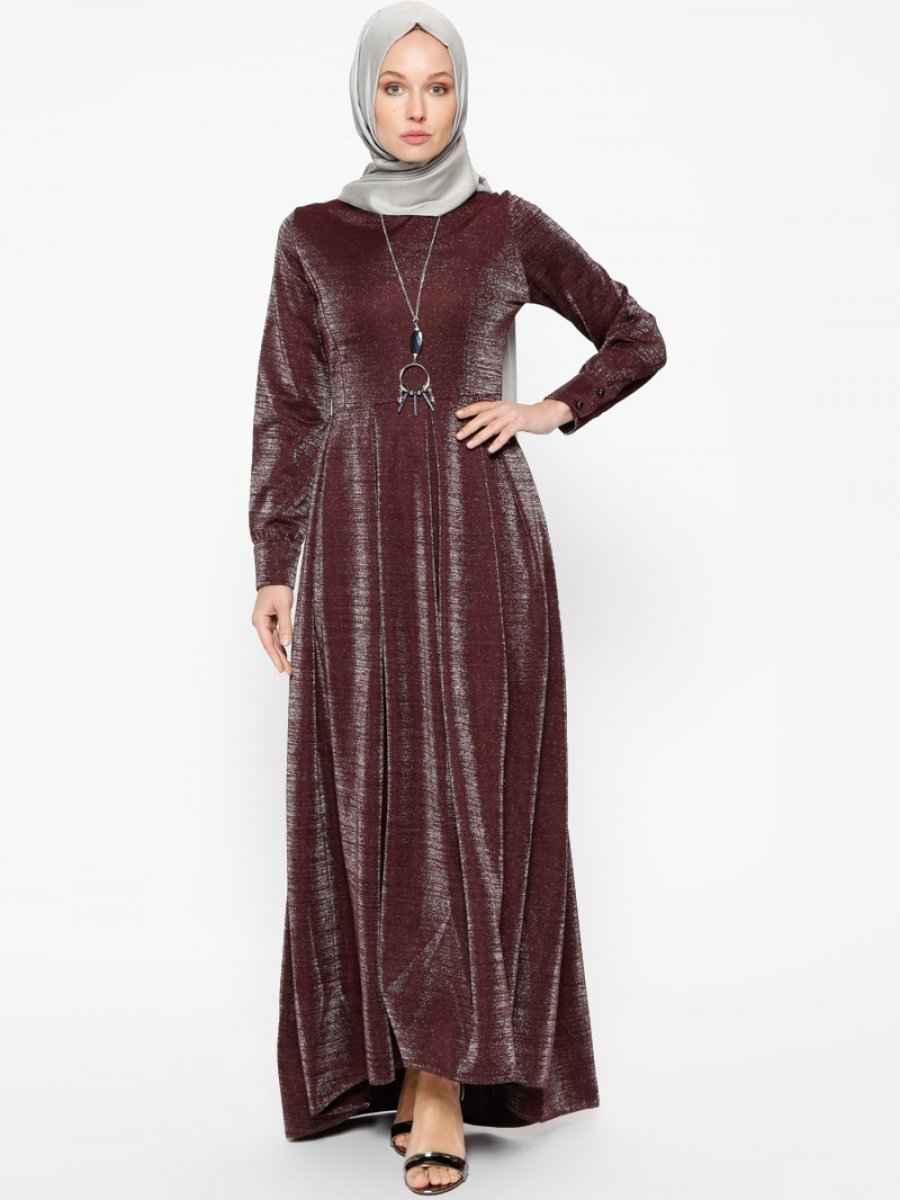 Bürün Simli Tesettür Elbise Modelleri
