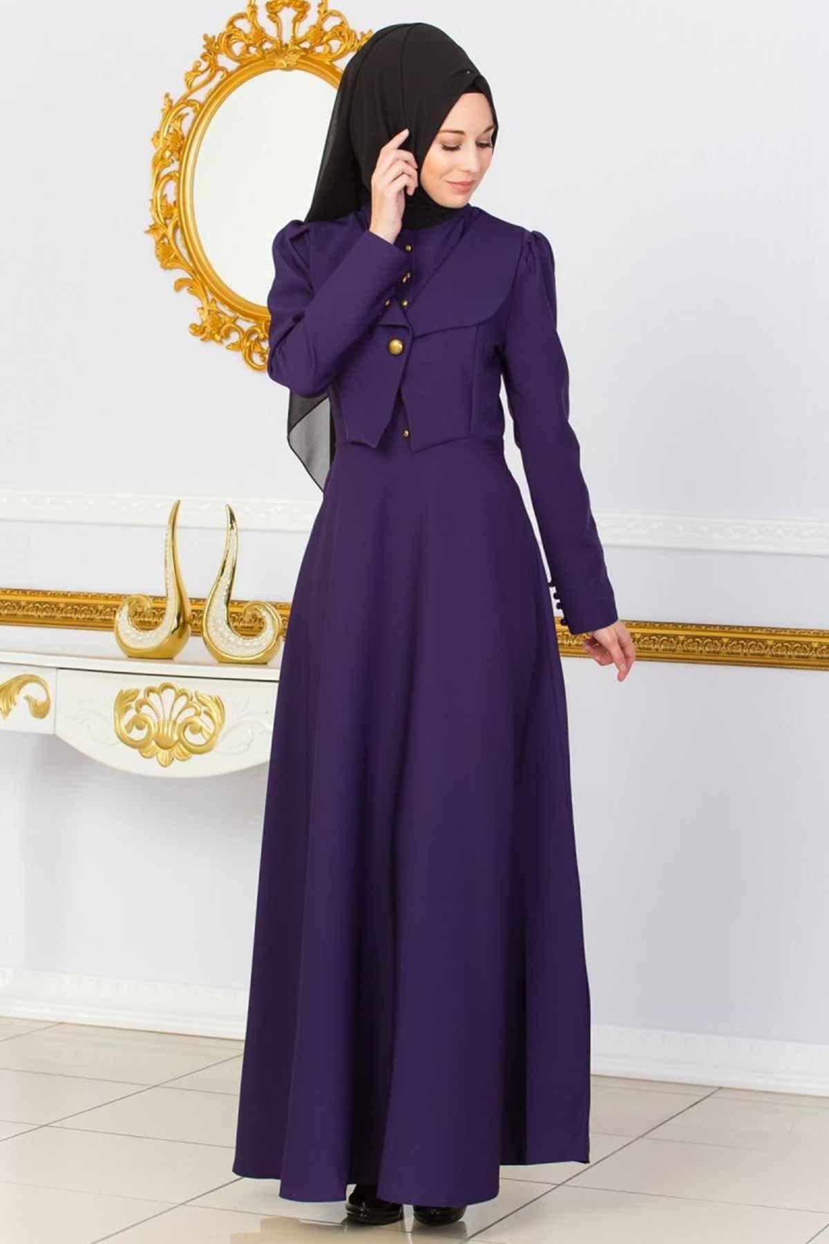 Ceket Görünümlü Patırtı Tesettür Abiye Elbise Modelleri