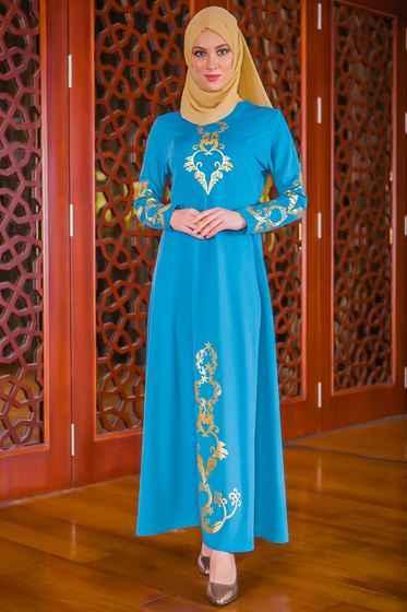 Dantel Detaylı Patırtı Tesettür Abiye Elbise Modelleri