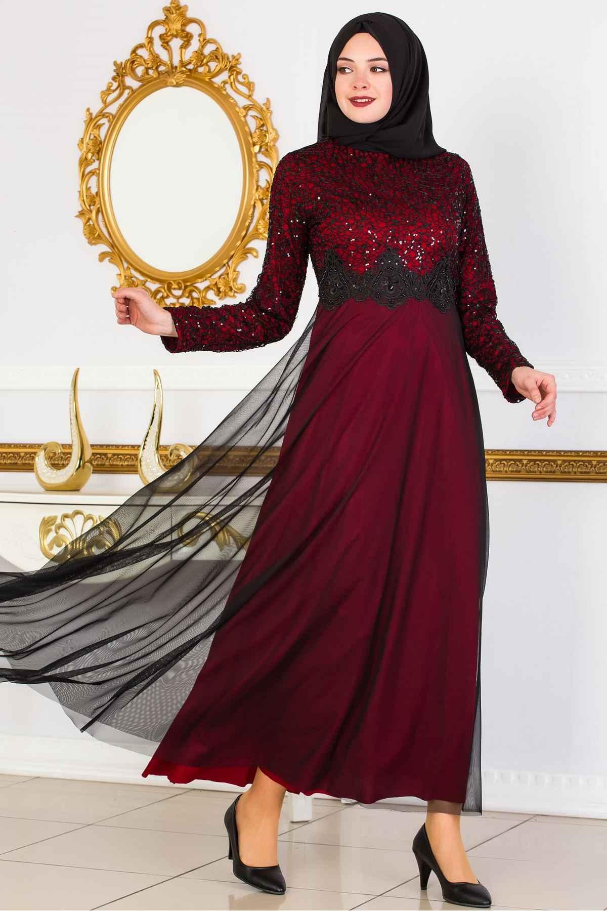 En Şık Sedanur Tül Detaylı Tesettür Abiye Elbise Modelleri